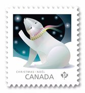 2017 Canada Christmas Polar Bear Single Stamp From Booklet MNH - Carnets
