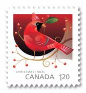 2017 Canada Christmas Red Cardinal Bird Single Stamp From Booklet MNH - Carnets