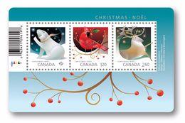 Canada 150 Anniversary Christmas Polar Bear Caribou Red Cardinal Bird Animal Mini Sheet And 2011 Stamp On Stamp MNH - 1952-.... Regering Van Elizabeth II