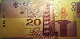 Macao Billet Plaqué Or 24K  20 Patacas 2008 UNC - Macau