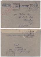 AUSU001 Australia 1950 Reg Censored Airmail Stationery Aerogramme 7d KGVI Sydney W/Slogan To Egypt - Postal Stationery