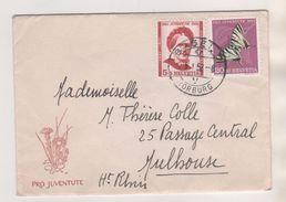 SUISSE NOUVELLE ANNEE 1952 - ENVELOPPE PRO JUVENTE AVEC COURRIER ILLUSTREE PRO JUVENTE - J.SPYRI ( HEIDI ) ET PAPILLON - Schweiz
