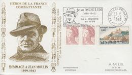Enveloppe   Hommage  à   JEAN   MOULIN    BEZIERS   1983 - Guerre Mondiale (Seconde)