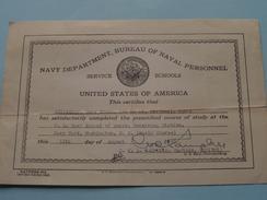 United States NAVY ( Rating Description / Musician, Third Class ) RIPPERDAN Gene Edwin 886 06 62 / 1945 ( Zie Foto ) ! - Diploma & School Reports