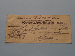 Pay To The Order (Cheque) Of Bank Of Los ANGELES 1927/29/32 ( 4 Pcs. / Zie Foto ) ! - Etats-Unis