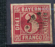 Stamp Bavaria 1862 3kr Used Lot #51 - Bavaria