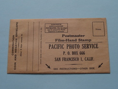 PACIFIC PHOTO SERVICE ( Omslag / Enveloppe ) For Negative Etc.. California U.S.A. ( Zie Foto ) ! - Supplies And Equipment