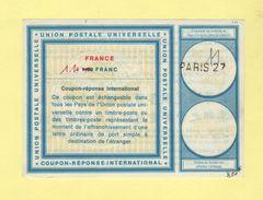 Coupon Reponse International - C22 - Paris 27 - 1.10 Franc - Antwoordbons