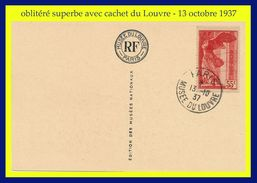 N° 355 VICTOIRE DE SAMOTHRACE 1937 - TIMBRE OBLITÉRÉ SUR CARTE POSTALE DU LOUVRE - 13 OCTOBRE 1937 -VOIR PHOTOS - - Frankreich