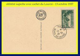 N° 354 VICTOIRE DE SAMOTHRACE 1937 - TIMBRE OBLITÉRÉ SUR CARTE POSTALE DU LOUVRE - 13 OCTOBRE 1937 - VOIR PHOTOS - - Frankreich
