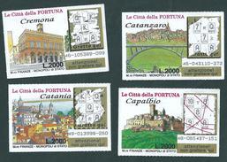 LOTTO NR. 16 - GRATTA E VINCI - LE CITTA' DELLA FORTUNA : CAPALBIO-CATANZARO-CATANIA-CREMONA - Altre Collezioni