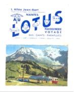 """Petit Calendrier 1970 - Maroquinerie / Voyage,... """" Au Lotus """"  à NANTES, Train (Fr55) - Calendriers"""