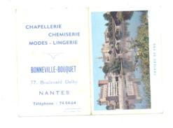Petit Calendrier 1962 - Chapellerie, Chemiserie, Modes, Lingerie BONNEVILLE - BOUQUET à NANTES - Pau (Fr55) - Calendriers