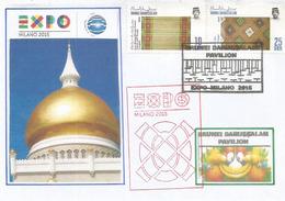 Palais Nurul Iman (résidence Du Sultan De Brunei), Lettre Du Pavillon De Brunei à L'Expo Universelle Milan 2015 (rare) - Brunei (1984-...)