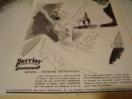 ANCIENNE PUBLICITE REVEIL  PERRIER  1939 - Affiches