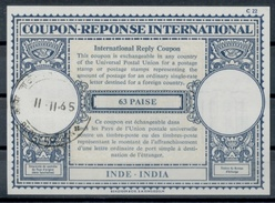 INDE / INDIA London Type XVIIa 63 PAISE Int. Reply Coupon Reponse Antwortschein IRC IAS O CALCUTTA REPLY COUPON 11.11.65 - Ganzsachen