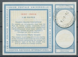 INDE / INDIA Type XXI  1,50 RUPEE International Reply Coupon Reponse Antwortschein  IRC IAS  O CALCUTTA 24.4.74 - Briefe
