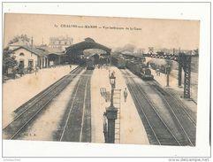 51 CHALON SUR MARNE VUE INTERIEURE DE LA GARE CPA BON ETAT - Stations With Trains