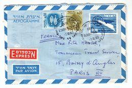 1962 - Israël - Aérogramme En Express Pour Paris - FRANCO DE PORT - Briefe U. Dokumente