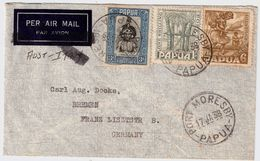 Papua, 1938, Airmail Cover To Germany, #8935 - Papua-Neuguinea