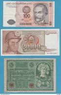 LOT 3 BILLETS: PERU - YUGOSLAVIA - DEUTSCHES REICH - Coins & Banknotes