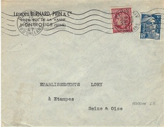 1947- Enveloppe Affr. à 6 F. T P Perforés  L B  ( Léopold Bernard, Prin & Cie ) - Poststempel (Briefe)