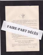 Faire-part Décès Mme Gustave QUIOC, Née Suzanne DEFOSSE, Franay, 1896 - Décès