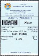 SHIPS - CONSORZIO LINEE MARITTIME SALERNITANE - NAVE CAPRI / POSITANO - BIGLIETTO PASSEGGERI - Schiffstickets
