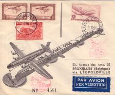 Congo Sabena 1er Vol De Bruxelles Vers Léopoldville Et Retour ( Action18avril ) - Belgisch-Kongo