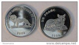 Congo RDC 1 Franc 2004 Golden Cat Chat Animal - Congo (Democratic Republic 1998)