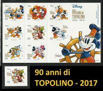 ITALIA 2017 - 90 Anni Di Topolino - W. Disney Italia - Grande Foglietto + Singolo = 9 Valori ** - 2011-...:  Nuovi