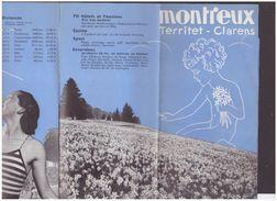 VAUD SUISSE - MONTREUX CLARENS TERRITET - DEPLIANT EN 8 VOLETS - TB - Tourism Brochures