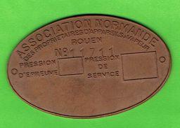 76- Rouen - Plaque En Cuivre - Association Normande Des Proprietaires D'appareils à Vapeur - Coppers