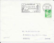 COTE DU NORD 22   - LOUDEAC  -  FLAMME  LOUDEAC / AU COEUR DE LA / BRETAGNE  -  1962 - Marcophilie (Lettres)