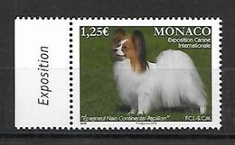 Monaco 2016 - Yv N° 3021 ** - EXPOSITION CANINE - (Epagneul Nain Continental Papillon) - (Mi N° 3279) - Monaco