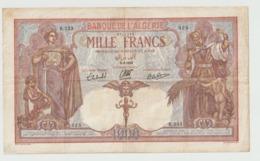 Billet De 1000 Francs Algérie Du 9 09 1939 Ref Musynski 43c , Plusieurs Plis Ettrous RRR - Algeria