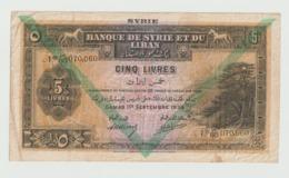 Billet De 5 Livres De Syrie Type 1939 Ref 743e Chevron Vert RRR - Syrie