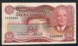 MALAWI P14a 1 KWACHA 31.1.1976   FIRST DATE ! AVF , 1 P.h. - Malawi