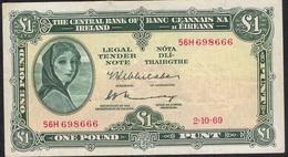 IRELAND P64b 1 POUND 2.10.1969 VF NO P.h. ! - Ireland