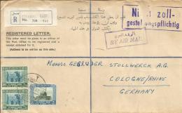 Jordanien Einschreibe Beleg 1958 MiF  Citadel - Köln - Jordanie