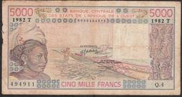 W.A.S. TOGO  P808Tf 5000 FRANCS 1982 FINE - Togo