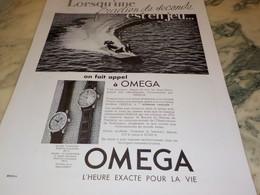ANCIENNE PUBLICITE FRACTION DE SECOND  MONTRE OMEGA 1938 - Autres