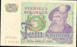 SWEDEN P51d 5 KRONOR 1978  AU+/UNC. - Suède