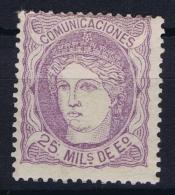 Spain: Ed 106 Mi Nr 100b Violett  MH/* Flz/ Charniere   1870 - 1868-70 Gobierno Provisional
