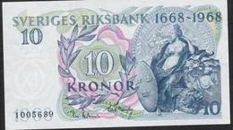 SWEDEN P56 10 KRONOR 1968  AUNC. - Suède