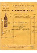 Riom-ès-Montagnes (Cantal) : Facture Et Traite Ets Refouvelet, Spécialités Gentiane, Anisette, Rhum Altessia......, 1931 - Alimentaire