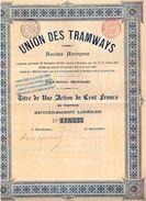 Action Ancienne - Union Des Tramways- Société Anonyme - Titre De 1900 - Bahnwesen & Tramways