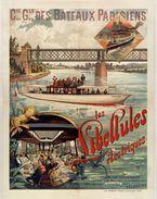 Reproduction D'une Ancienne Affiche - Cie Gle Des Bateaux Parisiens Les Libellules Électriques - Carte Photo Moderne - Publicité