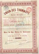 Action Ancienne - Union Des Tramways- Société Anonyme - Titre De 1895 - Chemin De Fer & Tramway