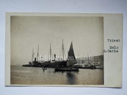 TRIESTE Molo San Carlo Barca Vela Piroscafo Nave Ship Vecchia Cartolina - Trieste